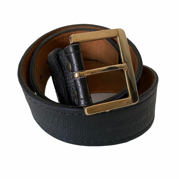 Black Textured Leather Belt with Gold Buckle